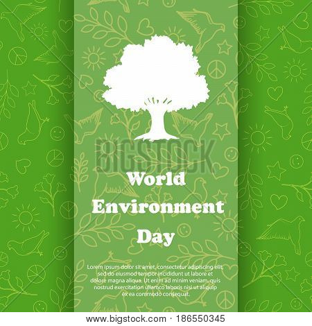 World environment day. Ecology Background. Vector Illustration. Eco poster, eco banner or eco card for world environment day.