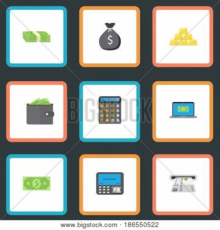 Flat Atm, Ingot, Cash Stack And Other Vector Elements. Set Of Business Flat Symbols Also Includes Notebook, Money, Stack Objects.