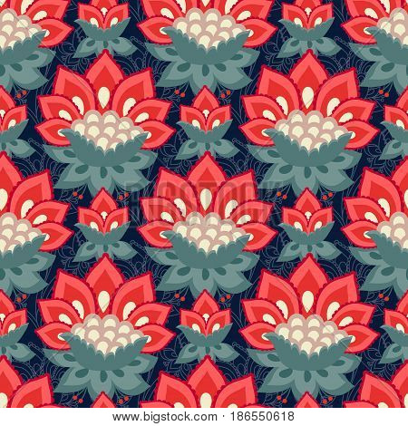 Floral seamless pattern Jacobean style flowers. Colorful herbal background. Vector illustration. Jacobean floral herbal collection red flowers. Dark blue summer night background.