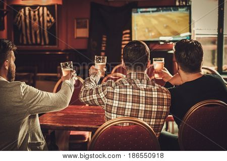 Cheerful old friends watching sports and drinking draft beer in pub.