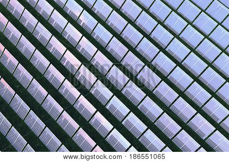 3D illustration Solar energy concept. Sunset sky reflection on photovoltaic panel. Power, ecology, technology, electricity