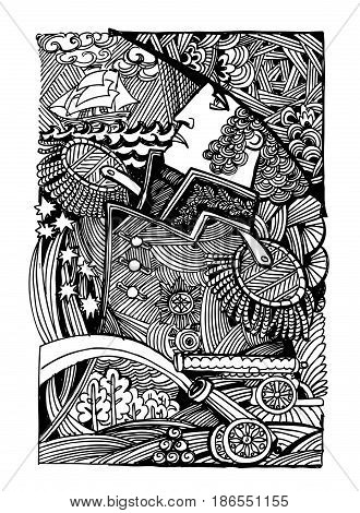 graphics illustration of a captain abstraction art therapy zentagle
