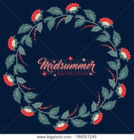 Midsummer floral vintage frame Jacobean embroidery style flowers. Colorful herbal wreath on dark. Vector illustration. Herbal collection red meadow flowers. Dark blue summer night background