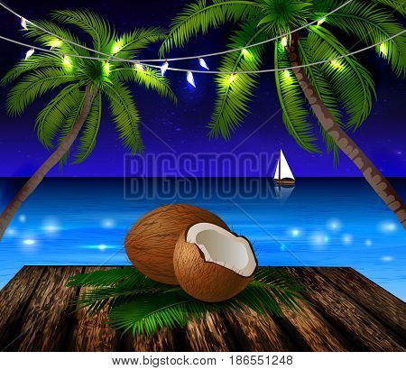 tropical vector background with leaves of palm trees summer night sky patio lightss exotic cocnut on palm leaves and wooden deck