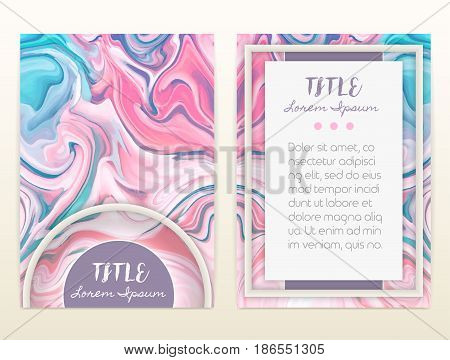 Cover design with marbling. Marble texture. Paint splash. Colorful fluid. It can be used for brochure card cover book catalog. Size A4. Vector illustration eps10