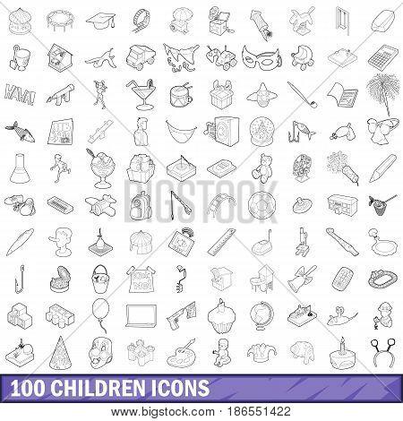 100 children icons set in outline style for any design vector illustration
