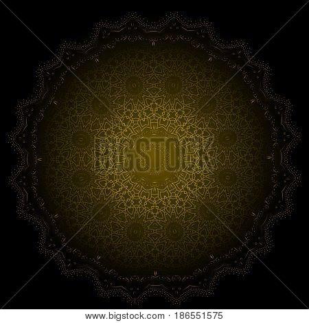 Ethnic Fractal Glowing Mandala Vector Meditation looks like Snowflake or Maya Aztec Pattern or Flower