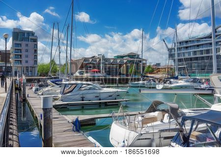 Ocean Village Marina in Southampton on a bright sunny day