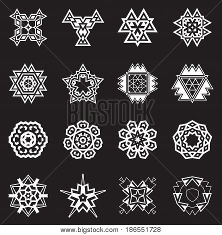 Abstract Geometric Elements, Pattern Ethnic Aztec or Maya Vector Set