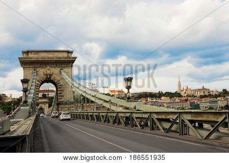 The Chain Bridge over Danube river with view to Pest side in Budapest city the capital of Hungary