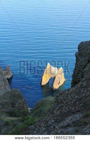 The extinct volcano Kara-Dag. The Golden Gate Rock. Crimea.
