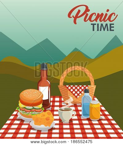 Picnic time design with basket, red gingham pattern blanket, and food over mountain landscape background. Vector illustration.