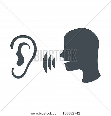 Speak and listen symbol isolated on white background. Listener, rumor, icon vector. Black head icon of man speaks in ear.