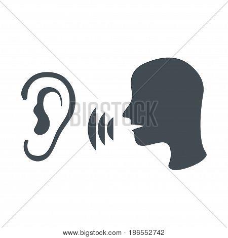 Speak and listen symbol isolated on white background. Listener, rumor, icon vector. Black head icon of man speaks in ear.