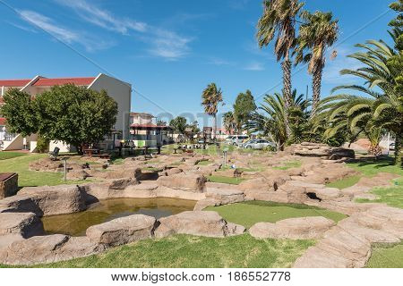 LAAIPLEK SOUTH AFRICA - APRIL 1 2017: A putt-putt or mini-golf course at the Port Owen Marina in Laaiplek at the mouth of the Berg River on the Atlantic coast of South Africa