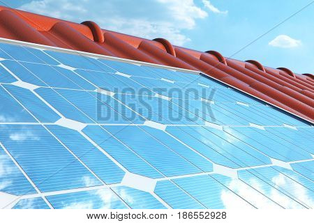 3D illustration solar panels on a red roof reflecting the cloudless blue sky. Energy and electricity. Alternative energy, eco or green generators. Power, ecology, technology, electricity