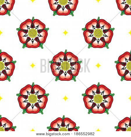 Tudor Rose seamless pattern. Following the War of the Roses, the red rose of the house of Lancaster and the White rose of the house of York combined to make the dual coloured Tudor rose.