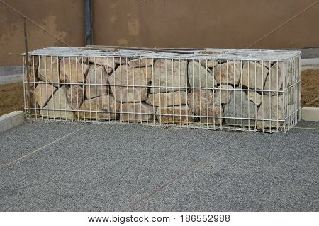 Construction Gabion Wall - Outdoor shot in germany