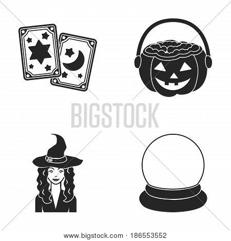 Tarot cards, holiday halloween, magician in a hat, crystal ball.Black and white magic set collection icons in black style vector symbol stock illustration .