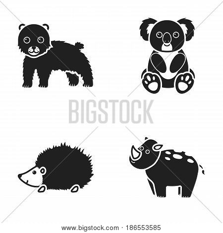 Rhino, koala, panther, hedgehog.Animal set collection icons in black style vector symbol stock illustration .