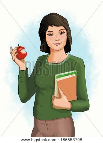 Young female student holding an apple and some books. Digital illustration, drawn with a graphic tablet.