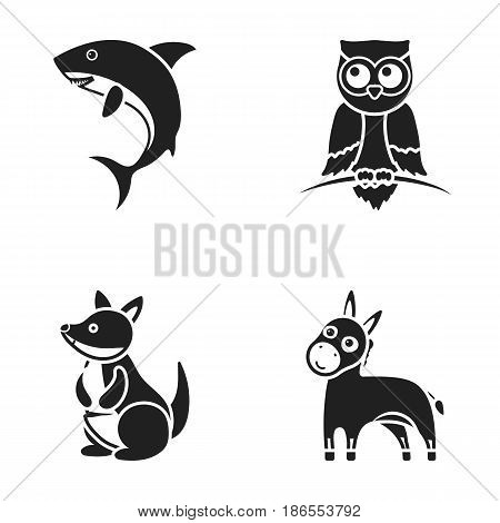Donkey, owl, kangaroo, shark.Animal set collection icons in black style vector symbol stock illustration .
