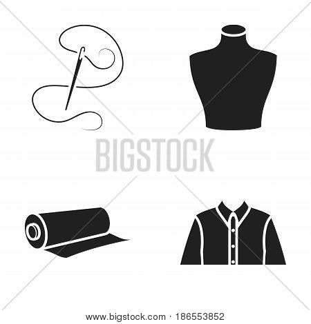 A man's shirt, a mannequin, a roll of fabric, needle and thread .Atelier set collection icons in black style vector symbol stock illustration.