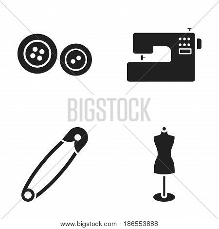 Electric sewing machine, dummy on the stand, pin, buttons.Atelier set collection icons in black style vector symbol stock illustration .