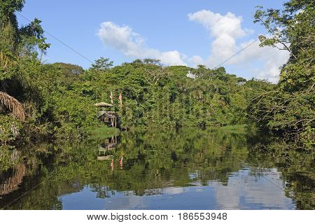 Remote Research Station in the Rain Forest on Tortuguero National Park in Costa Rica