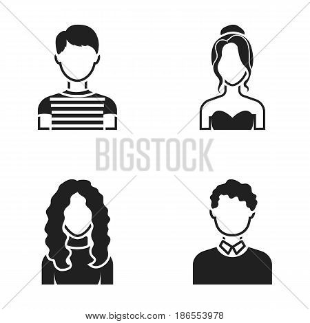 Curly-haired boy, blond, red-haired, teenager.Avatar set collection icons in black style vector symbol stock illustration .