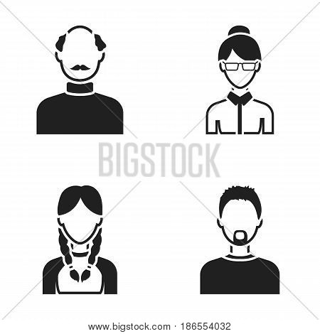 A man with a beard, a businesswoman, a pigtail girl, a bald man with a mustache.Avatar set collection icons in black style vector symbol stock illustration .