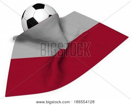 soccer ball and flag of poland - 3d rendering