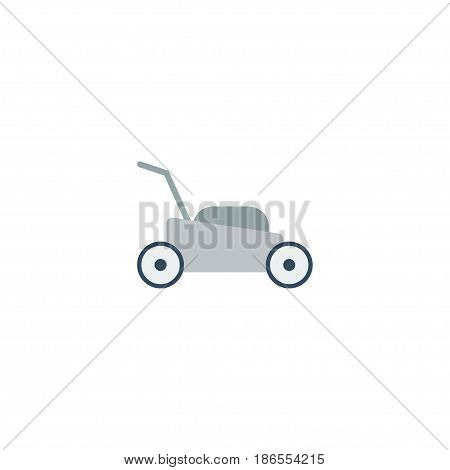 Flat Grass-Cutter Element. Vector Illustration Of Flat Lawn Mower Isolated On Clean Background. Can Be Used As Lawnmower, Grass And Cutter Symbols.