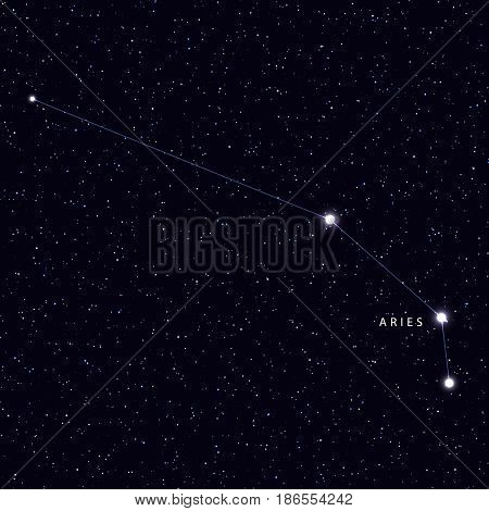 Sky Map with the name of the stars and constellations. Astronomical symbol constellation Aries