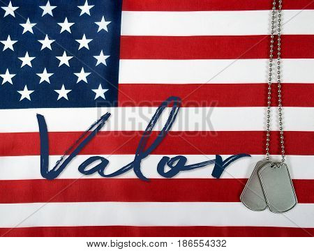 word valor and military dog tags on American flag background