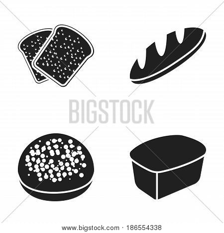 Toasts, a burger for a hamburger, a loaf of rifle bread, a rectangular rye bread. Bread set collection icons in black style vector symbol stock illustration .