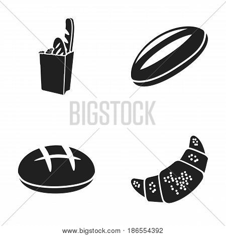 Croissant, a packet of bread, a round rye, a wheat loaf. Bread set collection icons in black style vector symbol stock illustration .