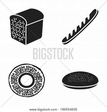 A bagel, half a loaf, a French loaf, a pie billet. Bread set collection icons in black style vector symbol stock illustration .