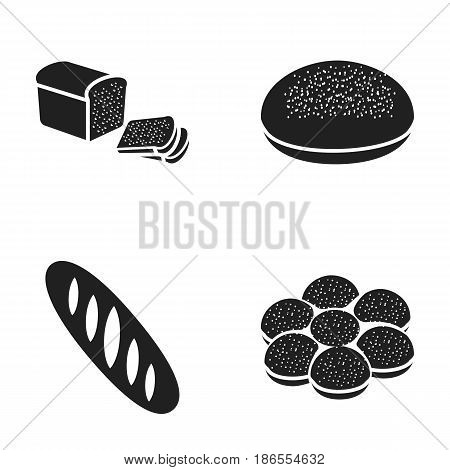 Half with pieces, round rye bread, croissant bun, loaf. Bread set collection icons in black style vector symbol stock illustration .