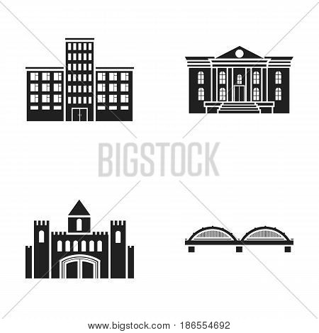Museum, bridge, castle, hospital.Building set collection icons in black style vector symbol stock illustration .