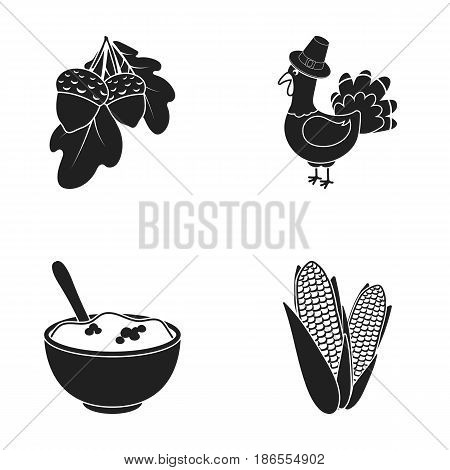 Acorns, corn.arthene puree, festive turkey, Canada thanksgiving day set collection icons in black style vector symbol stock illustration .