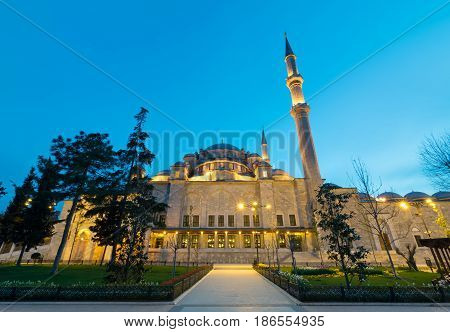 Exterior low angle night shot of Suleymaniye Mosque an Ottoman imperial mosque located on the Third Hill of Istanbul Turkey and the second largest mosque in the city. built in 1557