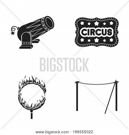 Crossbeam, circus gun, burning hoop, signboard.Circus set collection icons in black style vector symbol stock illustration .