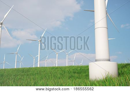 3d illustration, turbine on the grass. Concept alternative electricity source. Eco energy, clean Energy.