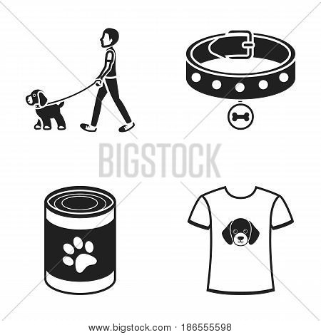 A man walks with a dog, a collar with a medal, food, a T-shirt I love dog.Dog set collection icons in black style vector symbol stock illustration .