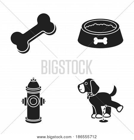 A bone, a fire hydrant, a bowl of food, a pissing dog.Dog set collection icons in black style vector symbol stock illustration .