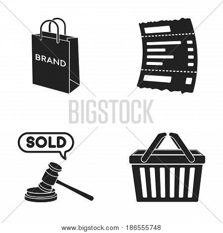 Bag and paper, check, calculation and other equipment. E commerce set collection icons in black style vector symbol stock illustration .