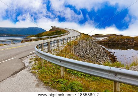 Famous bridge through fjord on the Atlantic road in Norway - travel background