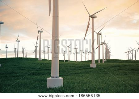 3d illustration, wind turbine with sunset sky. Energy and electricity. Alternative energy, eco or green generators. Power, ecology, technology, electricity