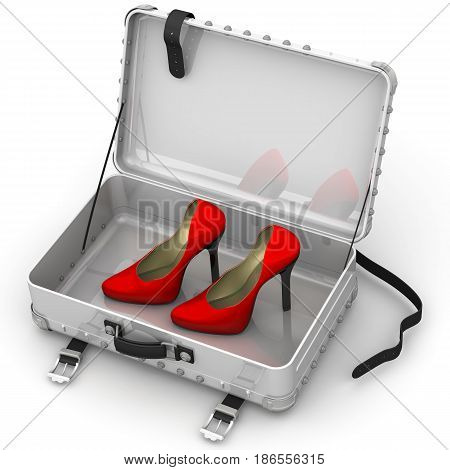 Women's shoes in an open suitcase. Red female shoes with high heels are in an open suitcase. 3D Illustration. Isolated